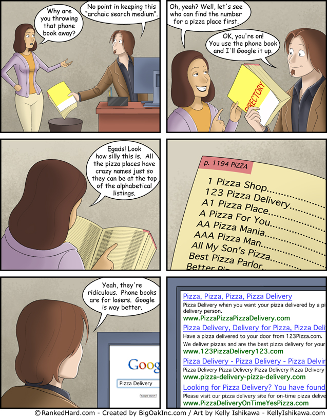 Search Engines vs the Yellow Pages